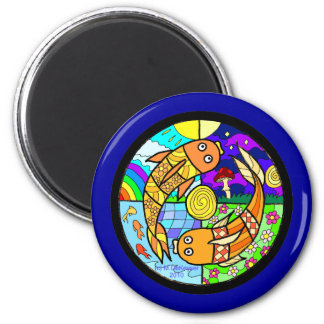 Koi Fish Pyschedelic Elemental Mandela Fridge Magnet