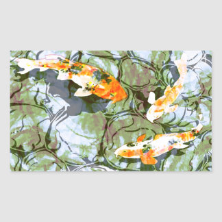 Koi Fish Rectangle Sticker