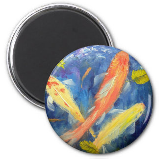 Koi Fish Swimming in Pond 2 Inch Round Magnet