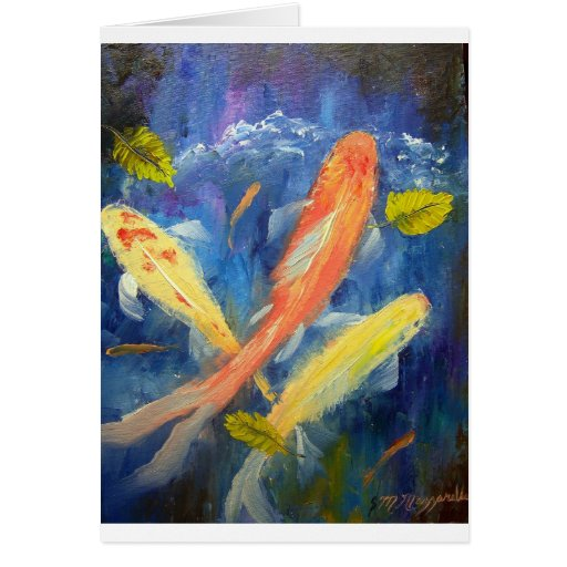 Koi Fish Swimming in Pond Cards