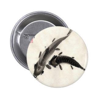 Koi Fish Watercolor Pinback Button