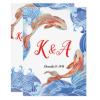 KOI FISH WEDDING INVITATION CARD