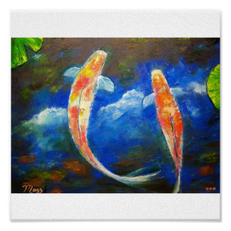 Koi Fish with Cloud Reflections Art Poster