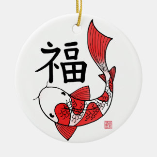 Koi Fish with Fortune Character Ornaments