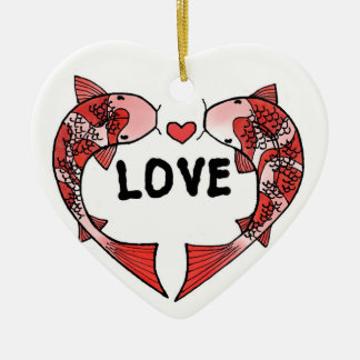 Koi Fish with LOVE Word Ceramic Ornament