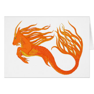 Koi Horse Orange Fire Greeting Cards