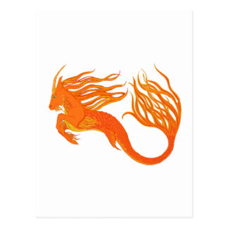 Koi Horse Orange Fire Postcard
