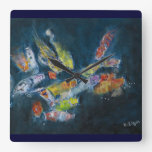 Koi in a pond square wall clock