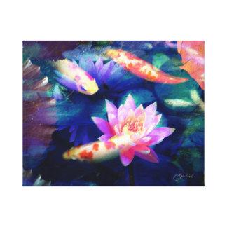 Koi in lotus pond canvas print