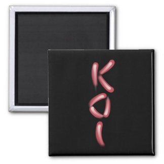 """KOI"" in Red and White Koi Fish Text Art 2 Inch Square Magnet"