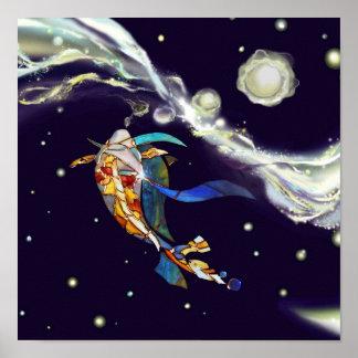Koi in Universe Glass Designer Interior Poster