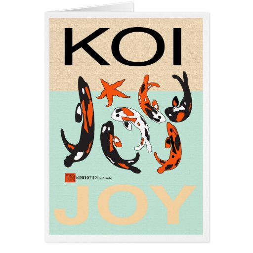 koi joy graphic: blue water  gold sand eyecontact greeting cards