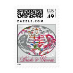 Koi Love Double Happiness Oriental Wedding Stamp