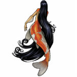 "Koi Mermaid cutout Pin/Ornament/Magnet<br><div class=""desc"">A beautiful mermaid with an orange and white Koi tail swims with her long black hair trailing behind her in graceful swirls. These lovely gift items featuring the art of Jill Johansen are perfect for lovers of fantasy artwork everywhere!</div>"