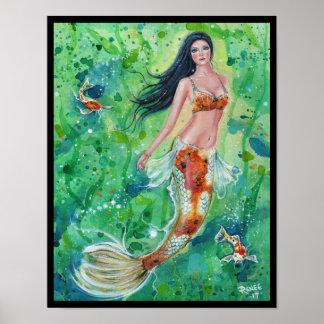 Koi mermaid garden poster print by Renee Lavoie