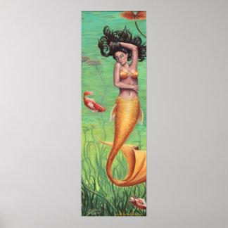 Koi Mermaid Poster Mermaid Art Koi Fish Art