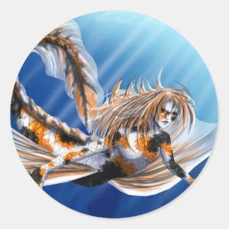 Koi Mermaid Round Stickers
