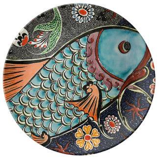 Koi Mosaic Porcelain Plate