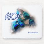 Koi Mousepad en azules y verdes Tapete De Ratones
