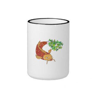 Koi Nishikigoi Carp Fish Microgreen Tail Drawing Ringer Mug