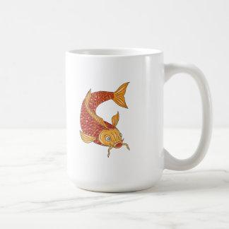 Koi Nishikigoi Carp Fish Swimming Down Drawing Coffee Mug