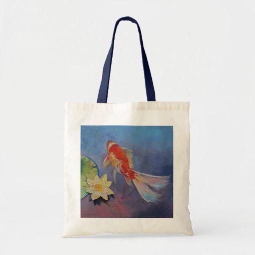 Koi on Blue and Mauve Budget Tote Bag