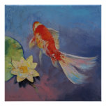 Koi on Blue and Mauve Poster