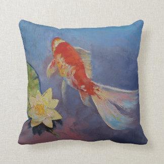 Koi on Blue and Mauve Throw Pillow