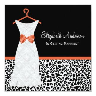 Koi Orange Gown Leopard PrintBridal Shower Card