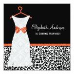 Koi Orange Gown Leopard PrintBridal Shower 5.25x5.25 Square Paper Invitation Card