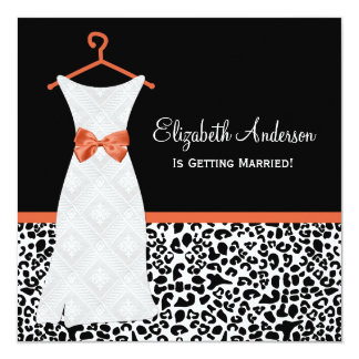 Koi Orange Gown Leopard PrintBridal Shower Invites