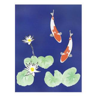 Koi Pond - Blue Background Postcard