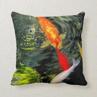 Koi Pond Cotton Pillow With Orange Backside