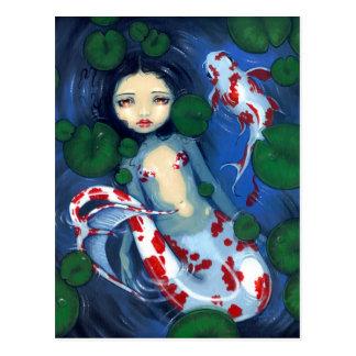 Koi Pond Mermaid Postcard
