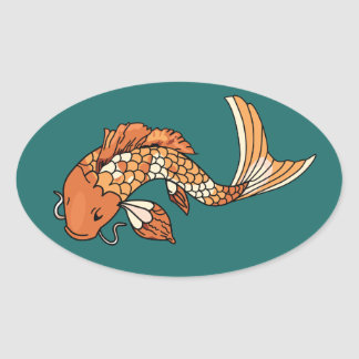Koi Pond - Oval Sticker