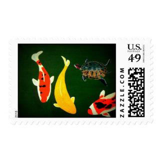 Koi Pond Postage Stamps