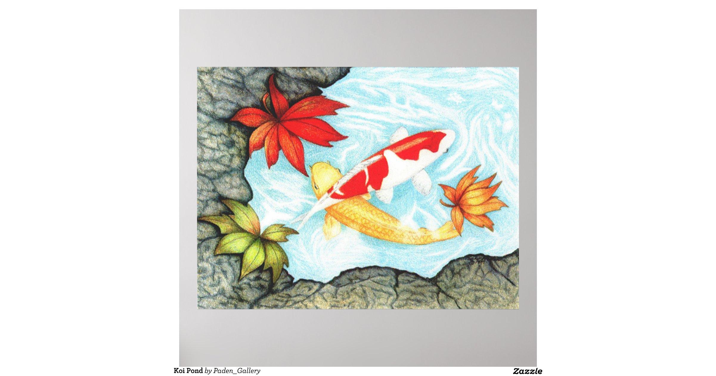 Koi pond poster zazzle for Koi pond gift ideas