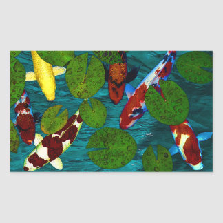 KOI POND RECTANGULAR STICKER