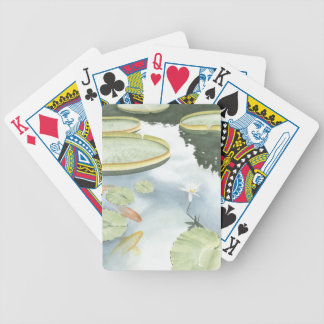 Koi Pond Reflection with Fish and Lilies Bicycle Playing Cards