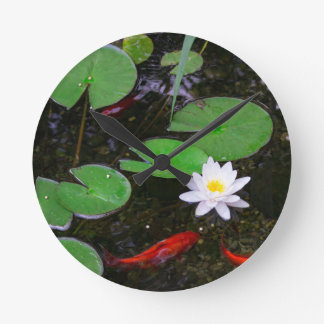 Koi Pond Round Clock