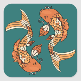 Koi Pond - Square Stickers