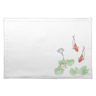 Koi Pond - White Background Placemat - Right