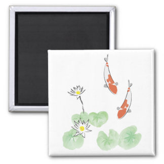 Koi Pond - White Background Square Magnet
