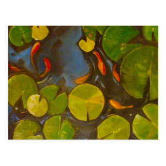 Koi Pond with lily pads and little fish Postcard