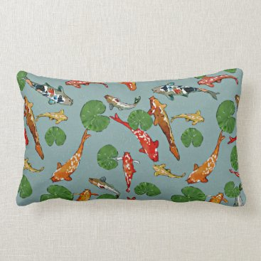 lauriekentdesigns Koi Pond With Lily Pads Watercolor Illustration Lumbar Pillow