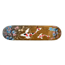 Koi Pond - wood - Japanese Design Skateboard