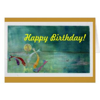 Koi por claro de luna tarjeta de felicitación