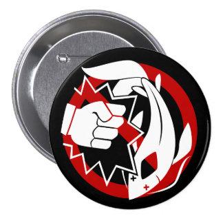 Koi que perfora el botón prohibido pin redondo de 3 pulgadas
