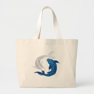 Koi Regal Blue Ghost silver Tote Bags
