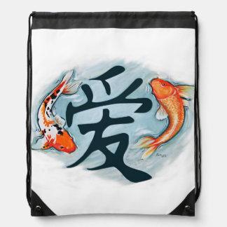 Koi Surrounding Love Drawstring Bag